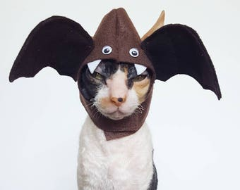 Boo Bat Cat Dog and small pet hat costume made with brown felt googly eyes Halloween