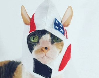 Astronaut Rocketship Pet Hat Costume for Cats Small Dogs and Small pets