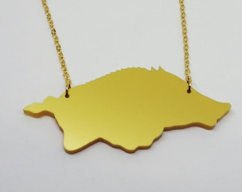 Arkansas  Razorback  WPS Gold Acrylic Necklace