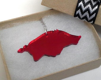 Arkansas  Razorback  WPS Red Mirror Necklace