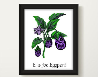 Kitchen Decor, Eggplant Print, Dining Room Decor, Kitchen Wall Art, Food Art, Kitchen Wall Decor, Vegetable Poster, Kitchen Art Print, P1204