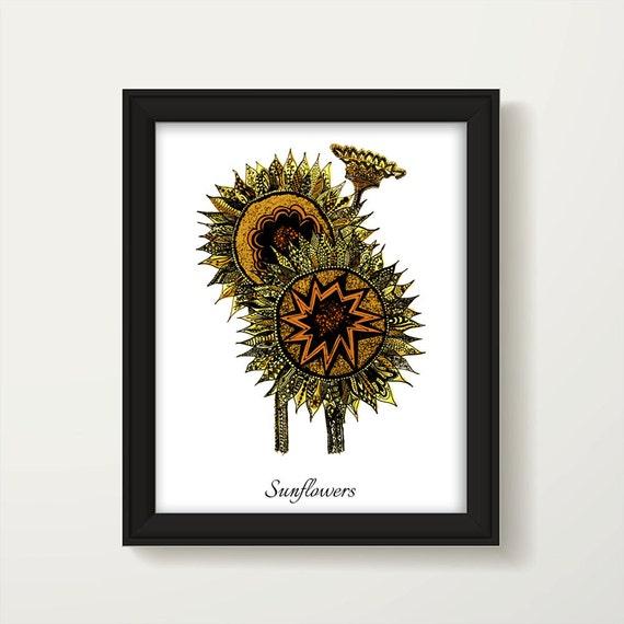Sonnenblume Sonnenblume Druck botanische Druck Wand Kunst
