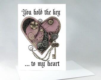 Romantic Card, Anniversary Card, Valentine Card, I Love You Card, Steampunk Heart Card, Love Card, Romance Card, Heart Card, Art Card, 1067