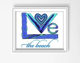 Coastal Wall Art, Love the Beach, Beach Artwork, Beach Decor, Nautical Nursery, Home Decor, Bathroom Wall Art, Beach House Decor, P1158