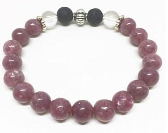 Pink Tourmaline Aromatherapy Diffuser Bracelet
