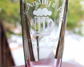 Dresden Files McAnally's Pub Accorded Neutral Territory Pint Glass - custom designs available for any sort of geekery!