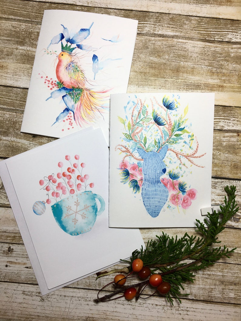 Watercolour illustration three greeting cards plus matching gift tag whimsical birddeerholly berries in cup