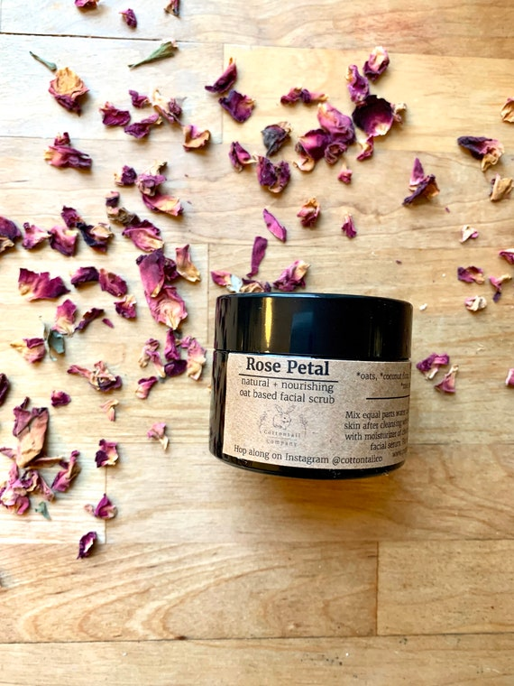 Rose Petal Facial Wash - Cleansing Grains - Oat Based Face Scrub / Cleanser