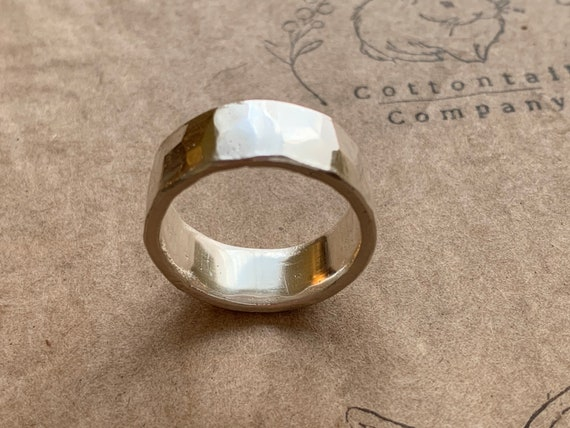 Mr. Cottontail's Handmade Hammered finish .9999 pure silver 8.5mm ring size 9