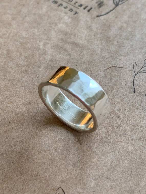 Mr. Cottontail's Handmade Hammered finish .9999 pure silver 8.5mm ring size 11
