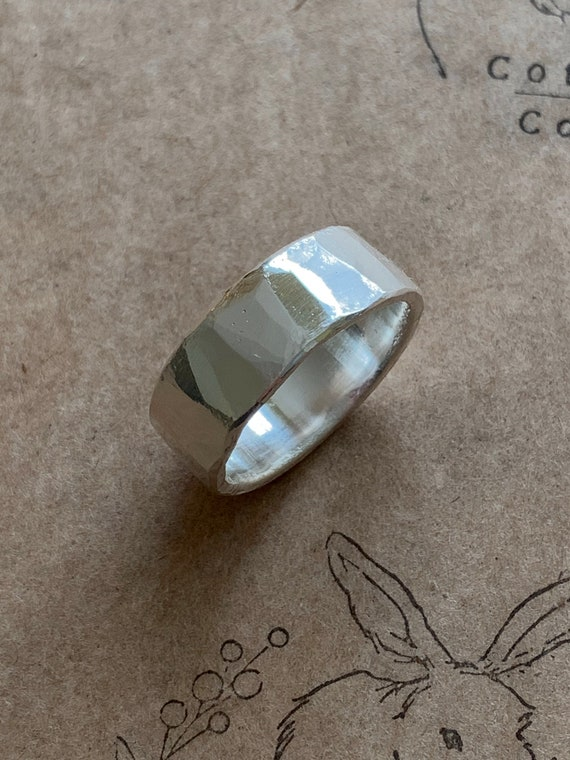 Mr. Cottontail's Handmade Hammered finish .9999 pure silver 8.5mm ring size 10