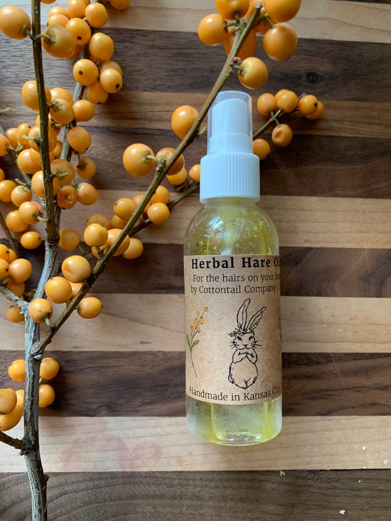 Herbal Hare Oil - hair oil for flyaway and frizz control, scent, and shine.