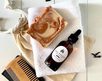 Beard and Mustache Oil Gift Set for Men ~Goat Milk Soap ~ Bearded Men's Gift Set ~Sexy Beard