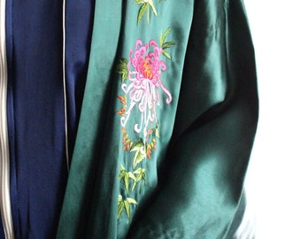 Emerald Floral Embroidered Robe