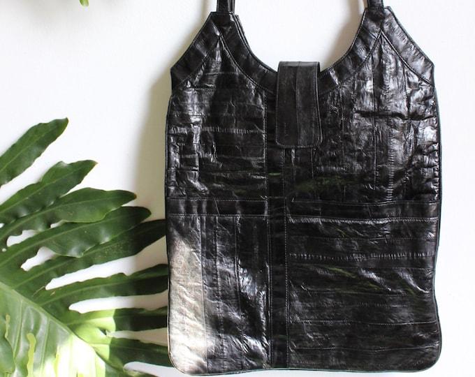 Vtg Black Eel Leather Bag