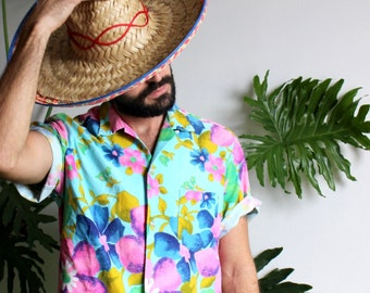 60s Tropical Button Front