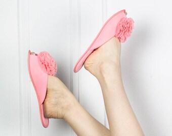 60s Blush Boudoir slippers