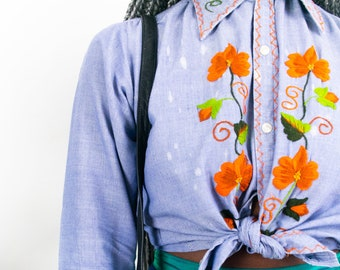 70s Floral Embroidered Blouse