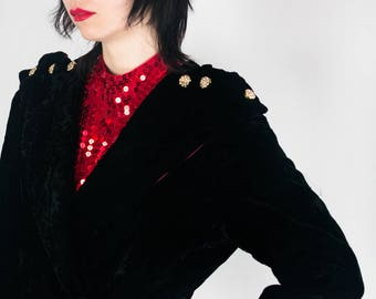 30s Quilted Velvet Robe Coat
