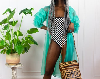 60s Teal Sheer Ruffle Robe