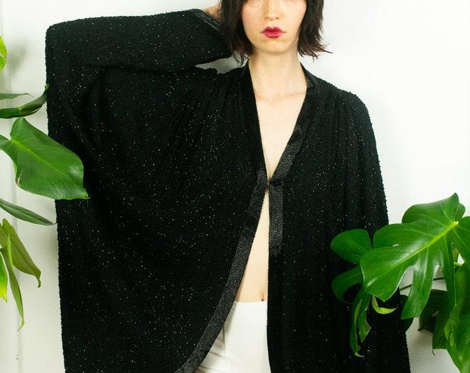 80s Luxe Black Beaded Kimono