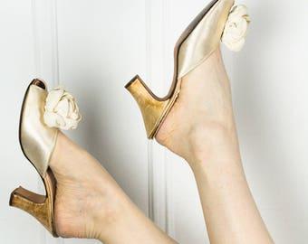 50s Silk Boudoir Kitten Heel