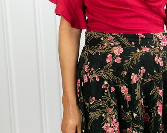 50s Floral Quilted Midi Skirt