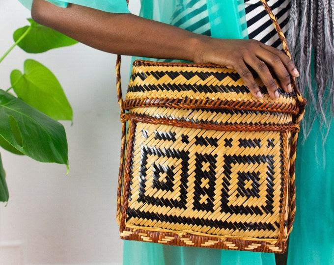 70s Geometric Naturalist Woven Bag