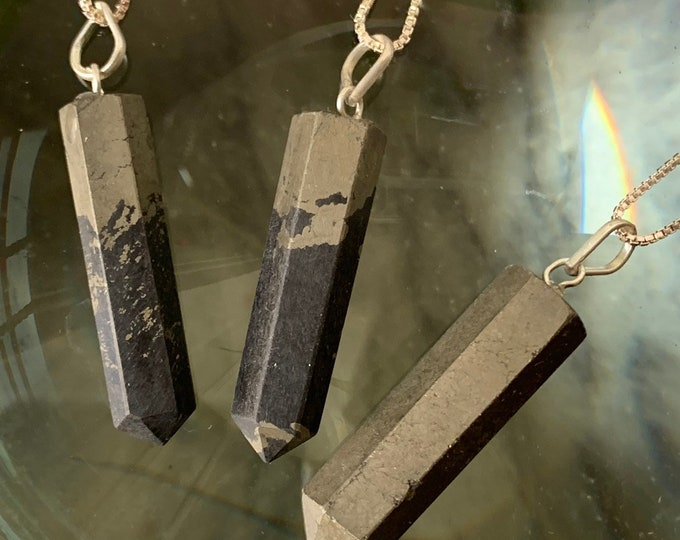 Pyrite Point w/ Silver Chain Necklace