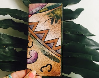 80s Sam Sam Abstract Painted Leather Checkbook Wallet