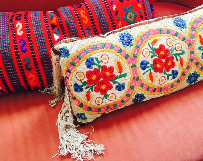 Hungarian Silk Floral Pillow