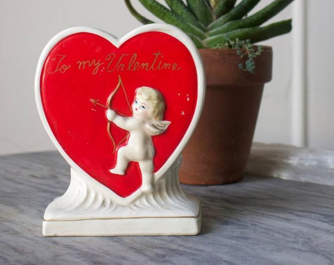 1940s Cupid Heart Bud Vase