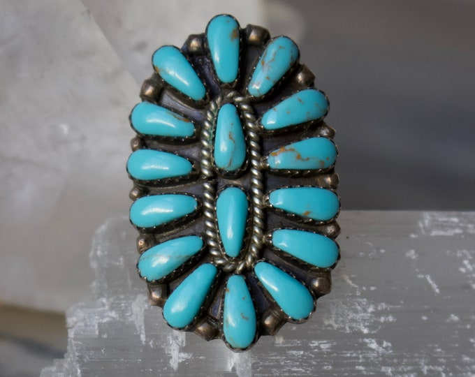 Turquoise + Silver Zuni Ring