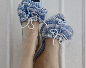 50s Gingham Ruffle Boudoir slippers