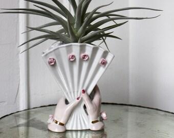 20s Hand Fan Bud Vase