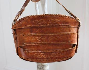 70's Tooled Leather Crossbody