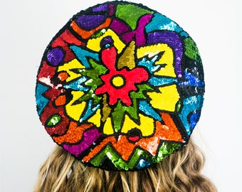 Abstract Sequin Beret