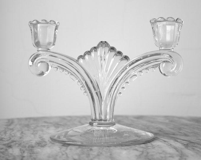 Art Deco Glass Candelabra