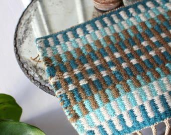 Handwoven Turquoise Table Rug