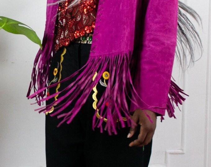 Orchid Suede Fringe Jacket