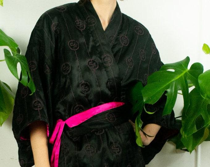 80s Quilted Satin Kimono