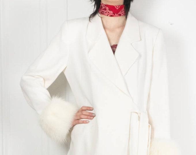 70s White Faux Fur Jacket