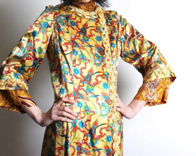 40s Floral Silk Robe
