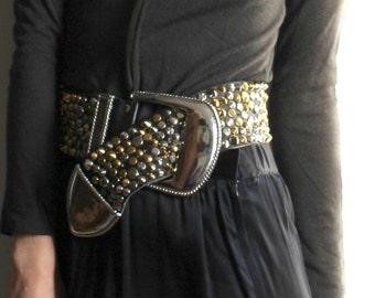 LALA Land Studded Leather Belt