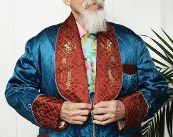 40's Silk Quilted Kimono Smoking Jacket