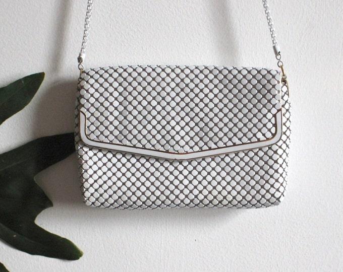 White metal mesh purse