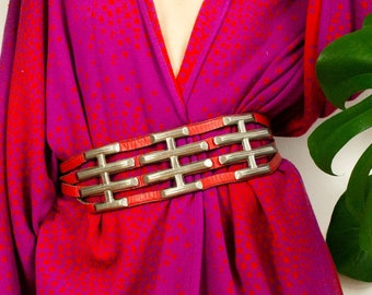 RED Leather Concho Belt