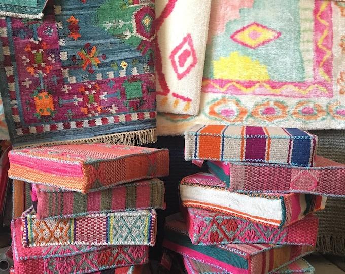Vintage Peruvian Textile Floor Poufs