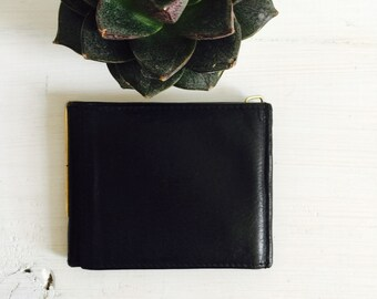 Black Leather TriFold Wallet / Dual Money Clips