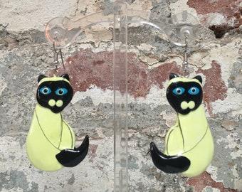 Wood Siamese Cat Earrings